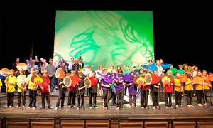 Curtain Call - pupils of Llangorse Primary School with MWCO at Theatr Brycheiniog