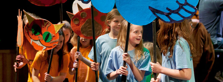 Pupils from Llangorse Primary School rehearsing Peter & the Wolf, image © Finn Beales