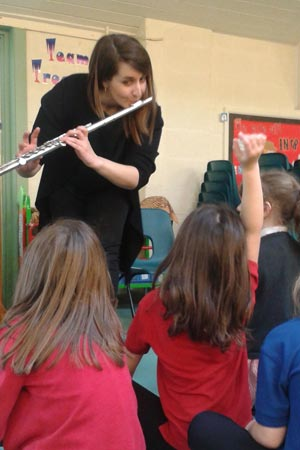 Flautist Kathryn Williams with pupils at Treowen School in Welshpool