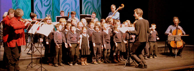Ysgol Llanfaes performing their new song in The Story of Babar at Theatr Brycheiniog