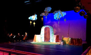 The Tempest set created by Hilary and Graham Roberts with children from Carreghofa, Meifod and Buttington Trewern Schools